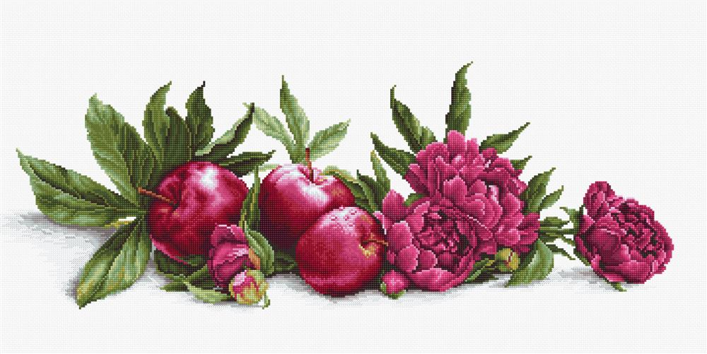 Peonies and Red Apples - Aida -  Cross Stitch Kit