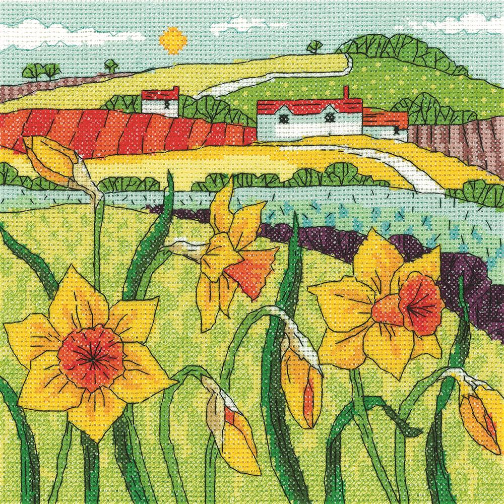 Heritage Daffodil Landscape - Aida Cross Stitch Kit