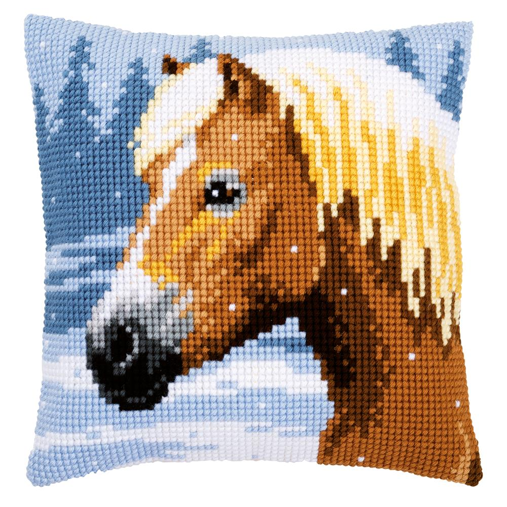 Vervaco Horse and Snow Cushion Christmas Cross Stitch Kit