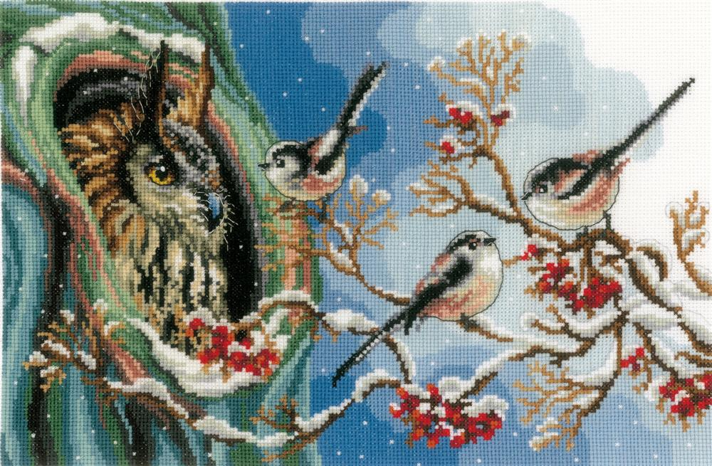 Owl and Long-Tailed Tits -  Cross Stitch Kit