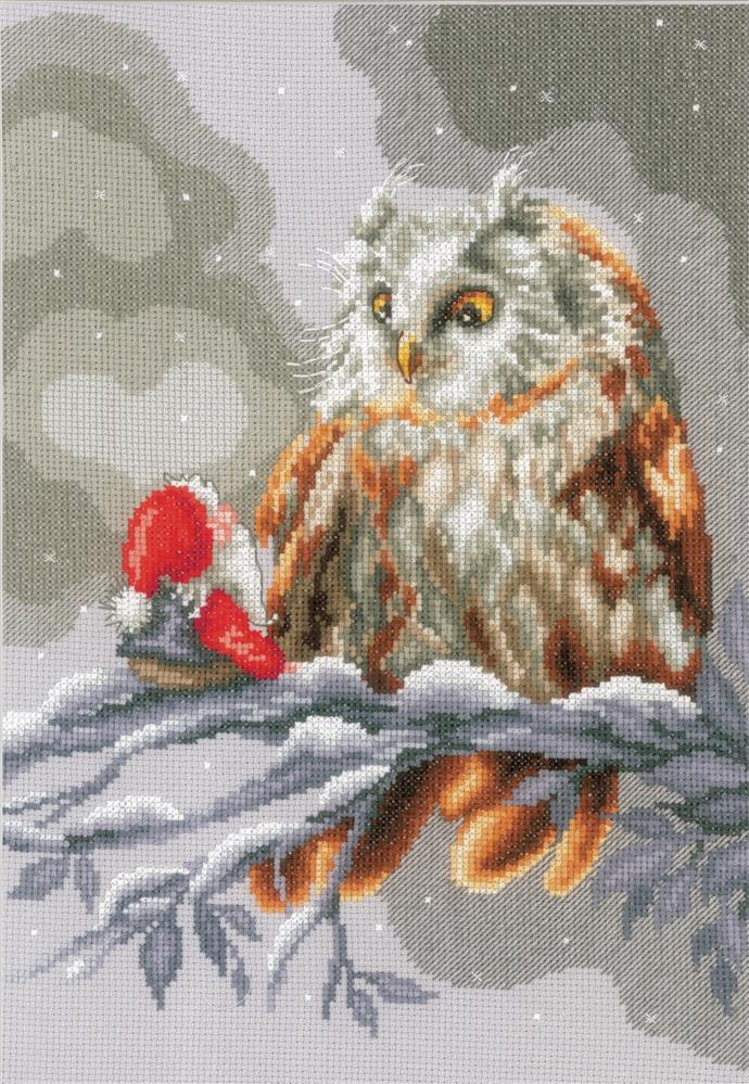 Vervaco Owl and Gnome Christmas Cross Stitch Kit