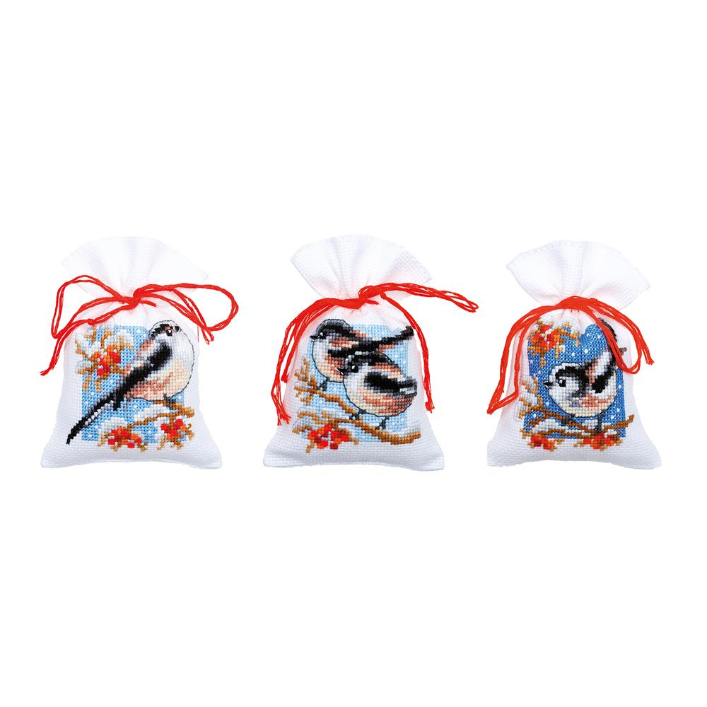 Long-Tailed Tits and Berries Bags -  Christmas Cross Stitch Kit
