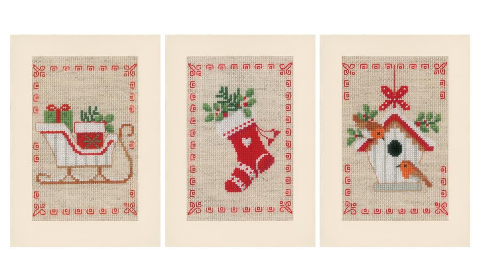 Vervaco Christmas Motif Set of 3 Card Making Cross Stitch Kit