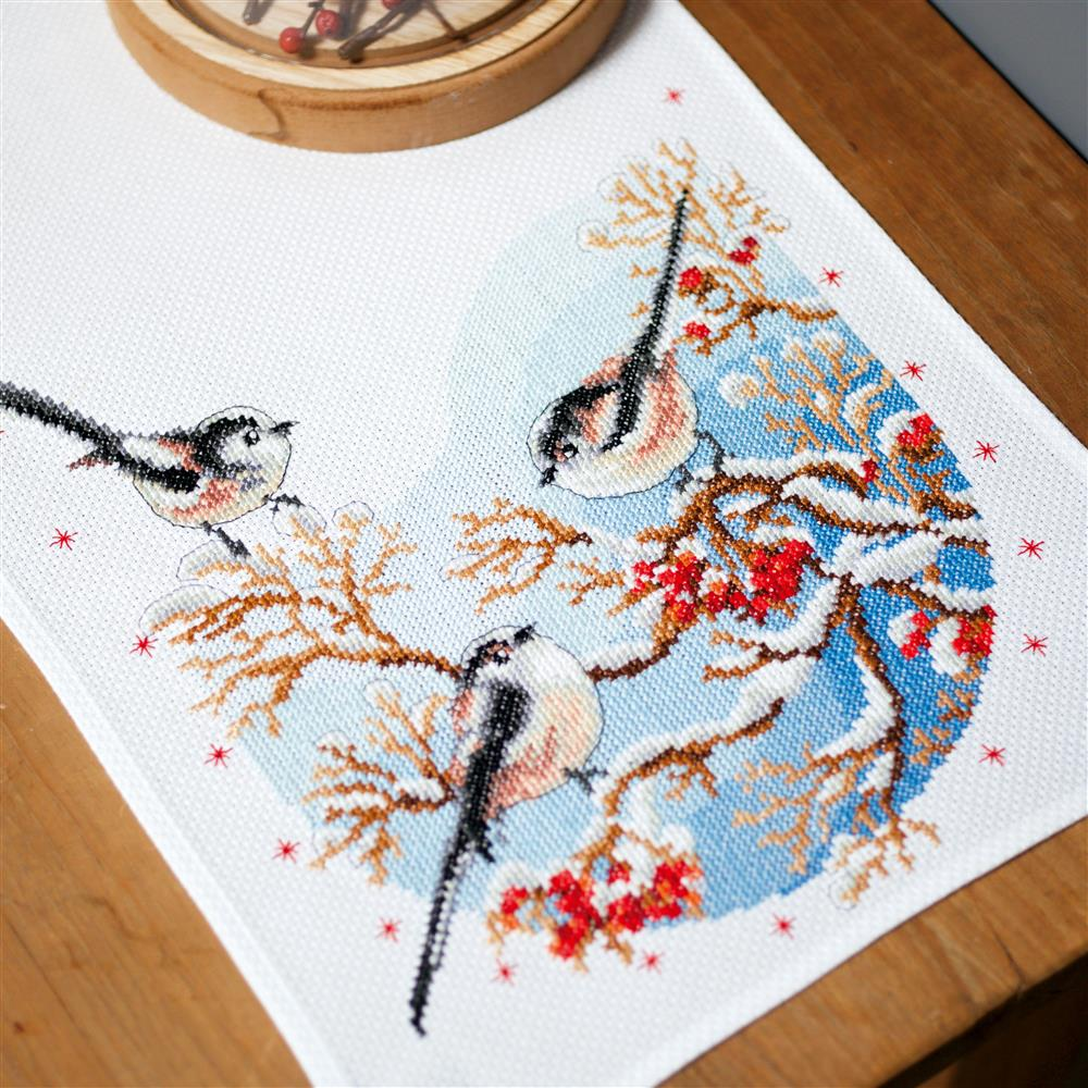 Vervaco Long-Tailed Tits and Berries Runner Cross Stitch Kit