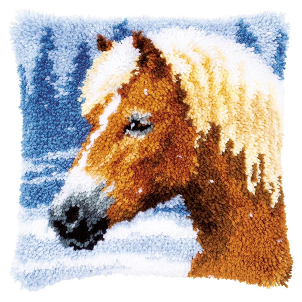 Winter Horse Latch Hook Cushion -  Christmas Latch Hook Cushion Kit