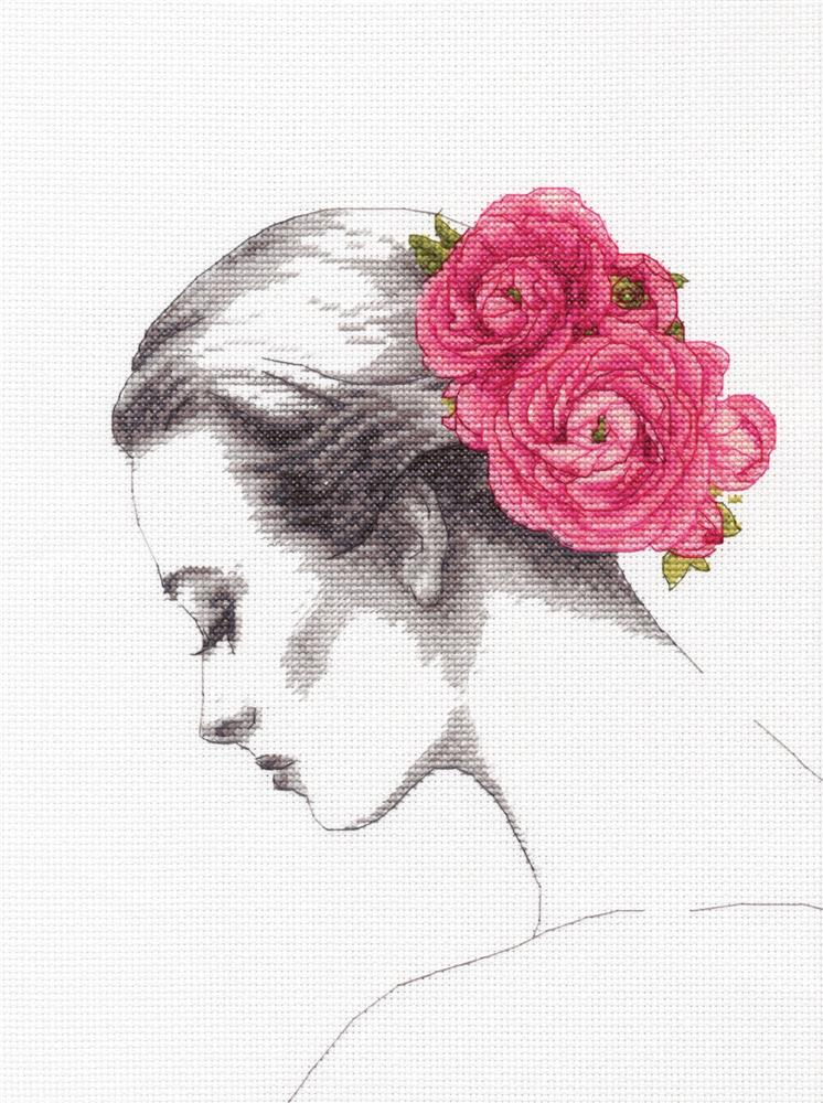 Floral Portrait -  Cross Stitch Kit