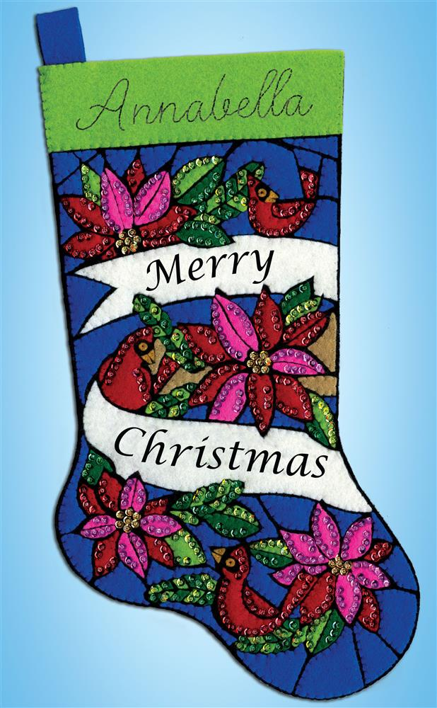 Design Works Crafts Stained Glass Poinsettias Felt Stocking Craft Kit