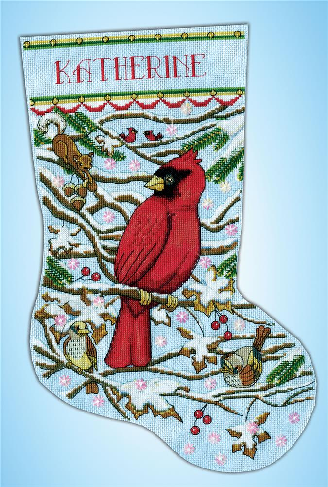 Design Works Crafts Cardinal Stocking Cross Stitch Kit