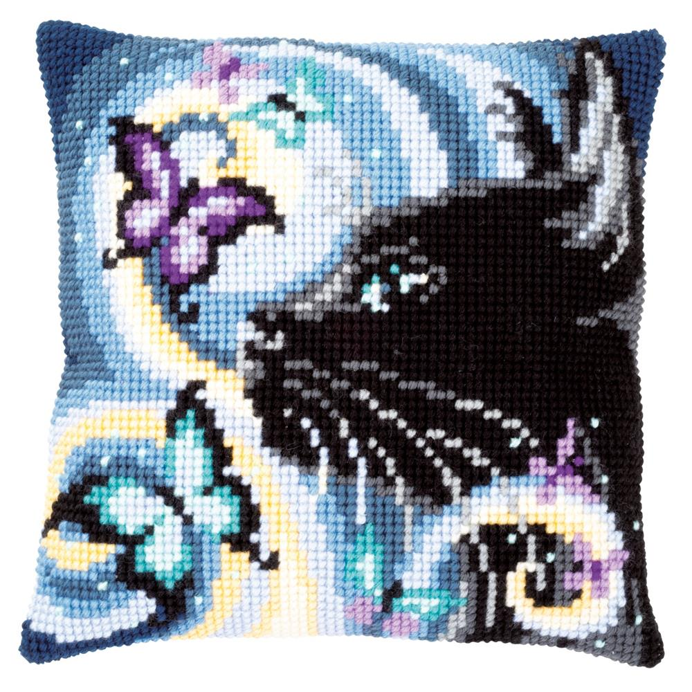 Vervaco Cat with Butterflies Cushion Cross Stitch Kit