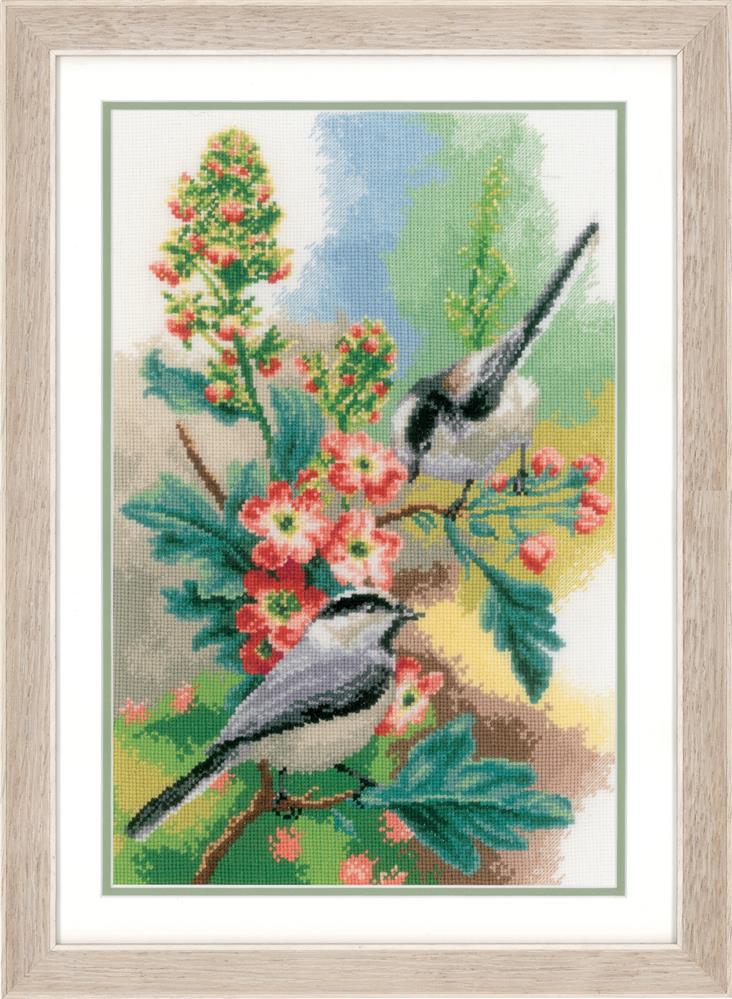 Vervaco Chickadees and Blossoms Cross Stitch Kit