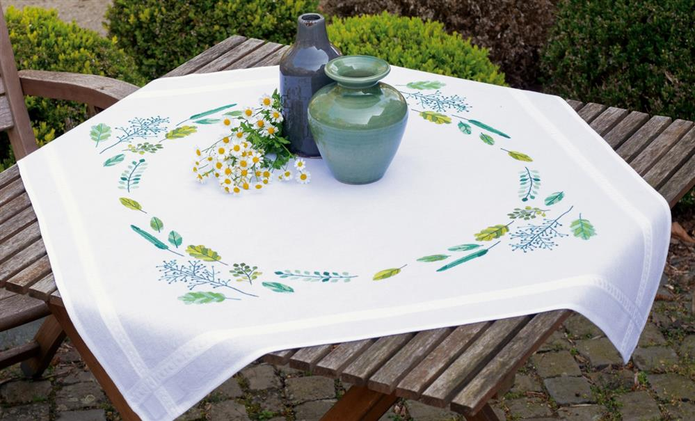 Vervaco Leaves and Grass Tablecloth Embroidery Kit