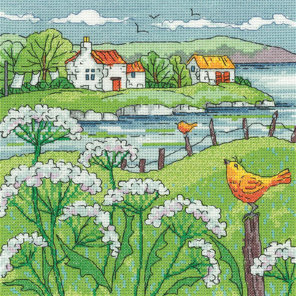 Heritage Cow Parsley Shore - Aida Cross Stitch Kit
