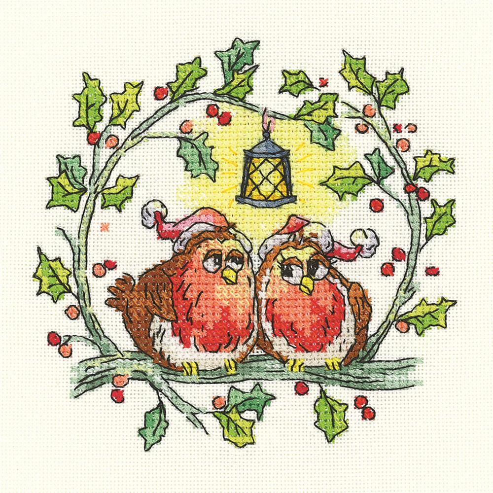 Heritage Christmas Robins - Evenweave Cross Stitch Kit