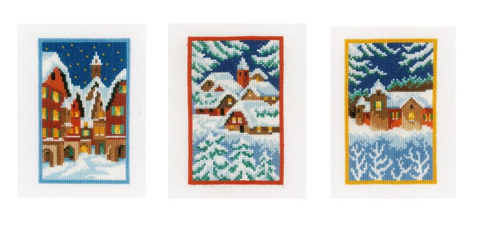 Vervaco Winter Nights - Set of 3 Christmas Card Making Cross Stitch Kit