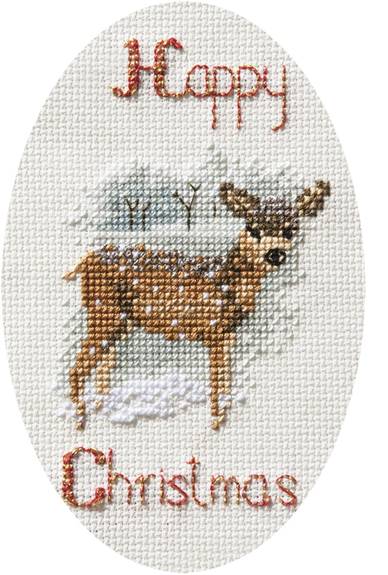 Derwentwater Designs Deer in a Snowstorm Christmas Card Making Christmas Cross Stitch Kit