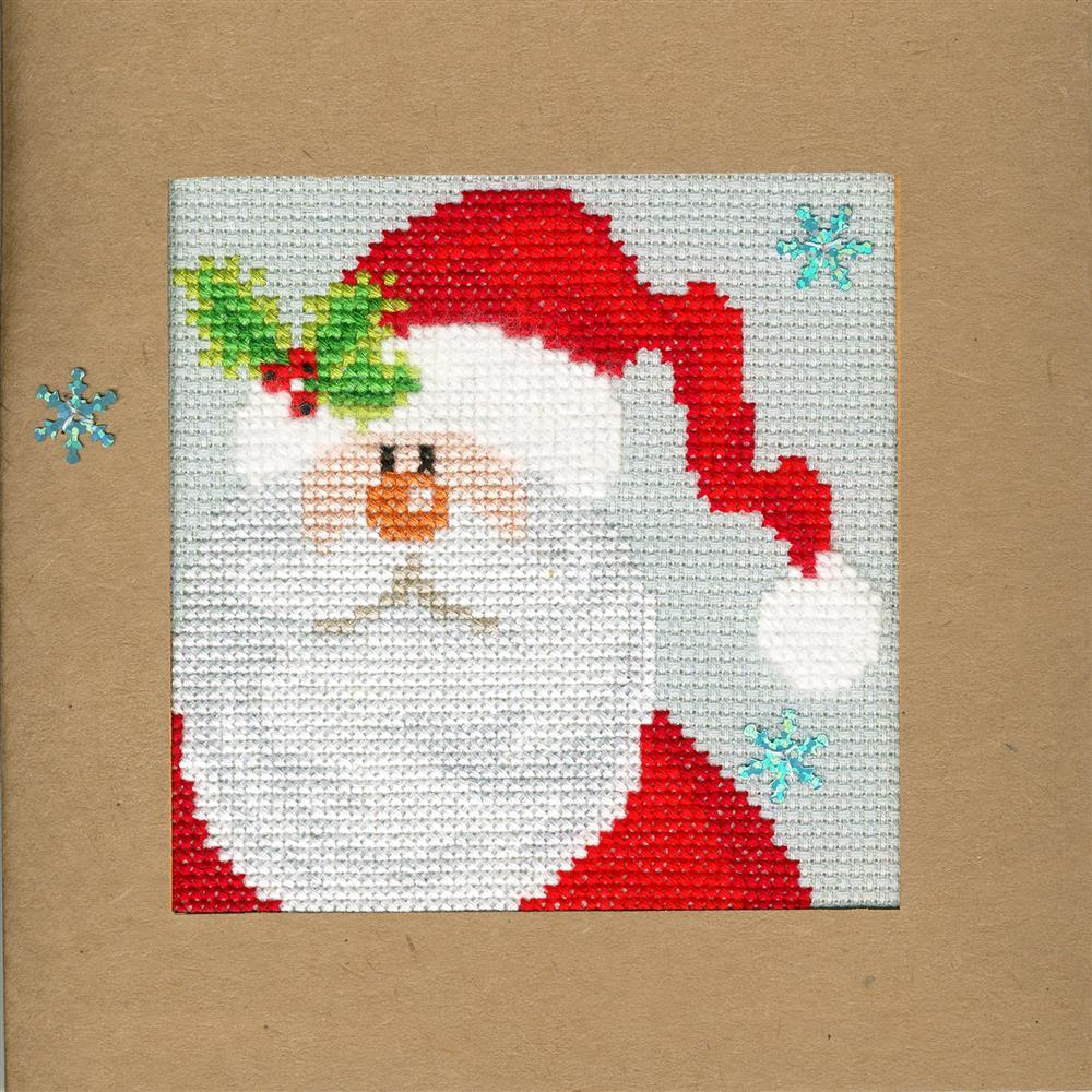Bothy Threads Snowy Santa Christmas Card Making Christmas Cross Stitch Kit