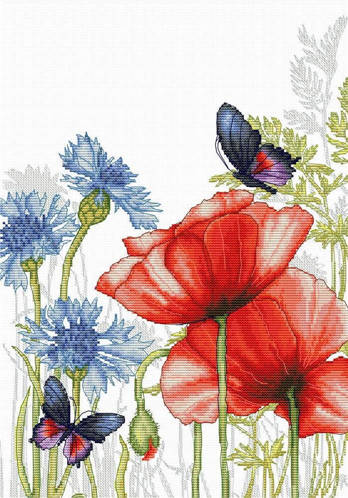Poppies and Butterflies -  Cross Stitch Kit