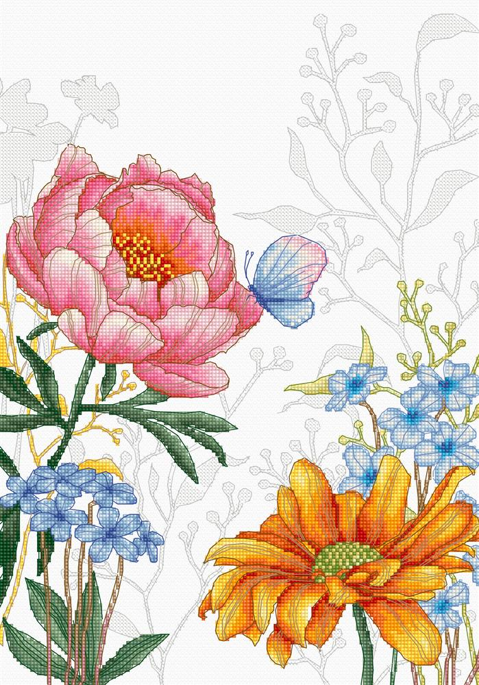 Flowers and Butterfly -  Cross Stitch Kit