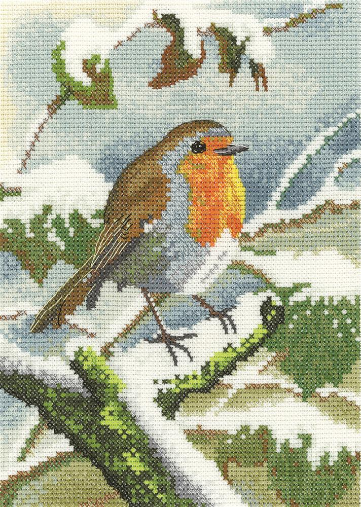Robin in Winter - Evenweave -  Christmas Cross Stitch Kit