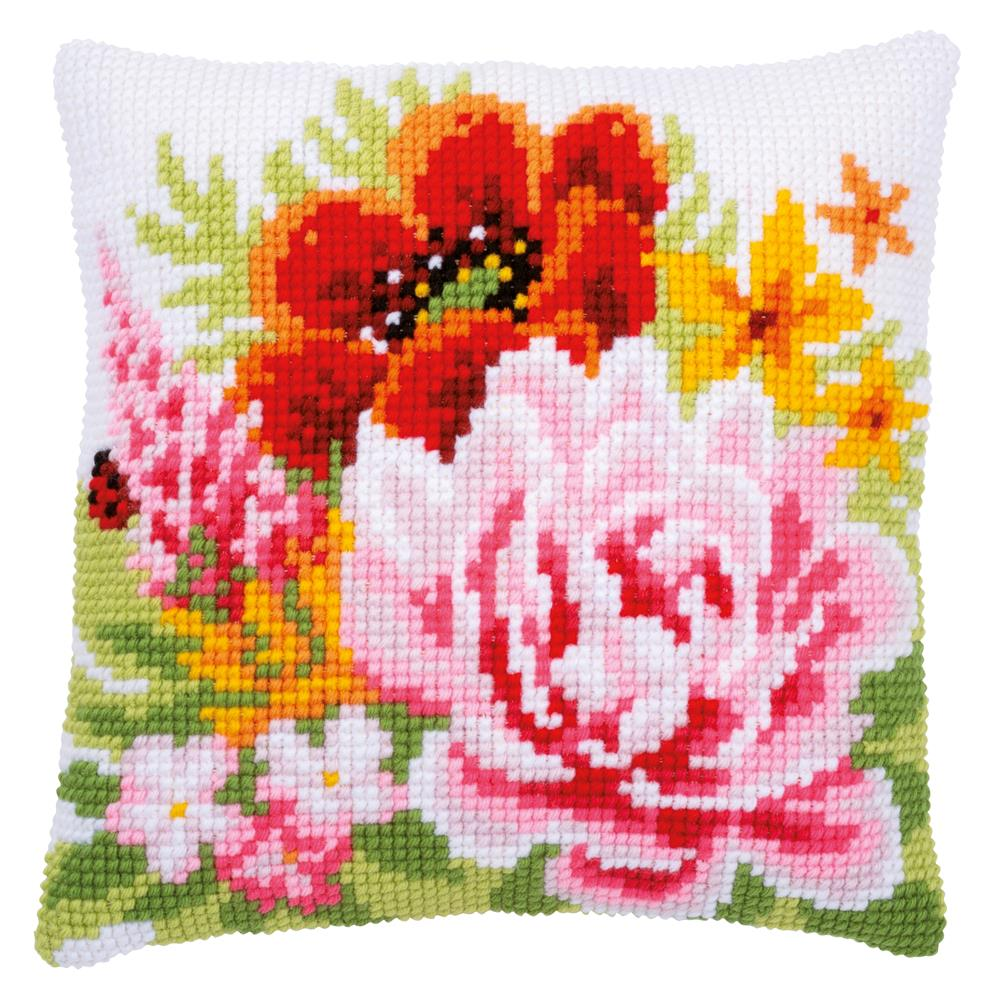 Vervaco Colourful Summer Flowers Cushion Cross Stitch Kit