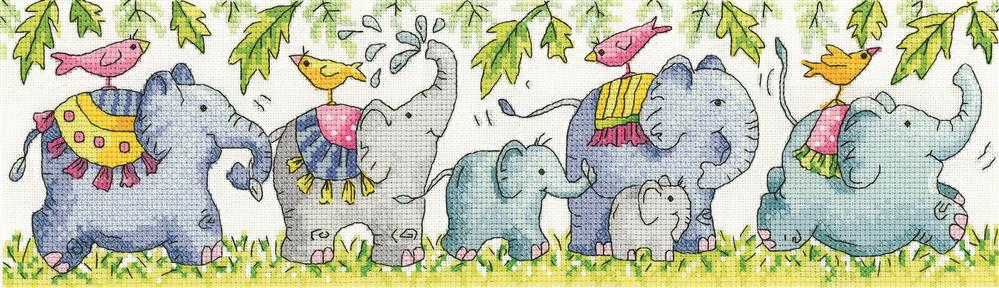 Heritage Elephants on Parade - Aida Cross Stitch Kit