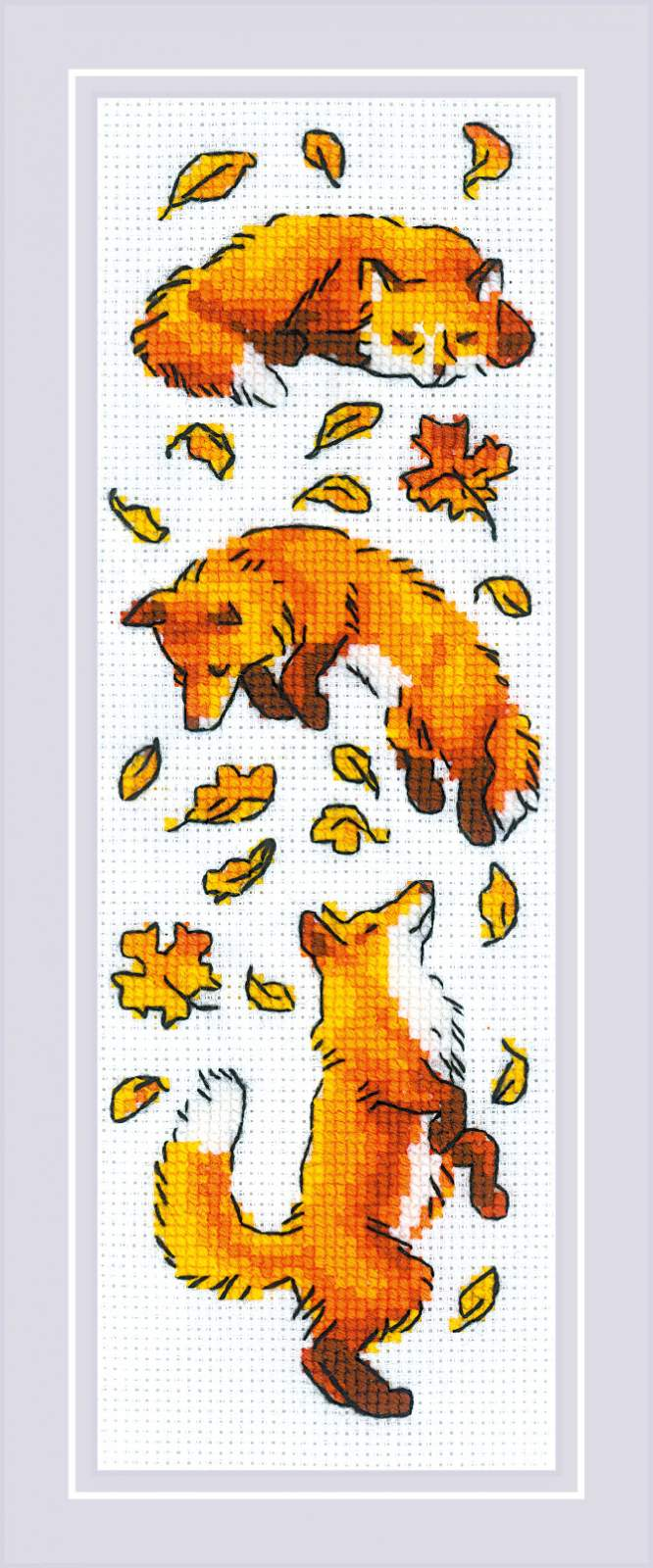 RIOLIS Foxes in Leaves Cross Stitch Kit