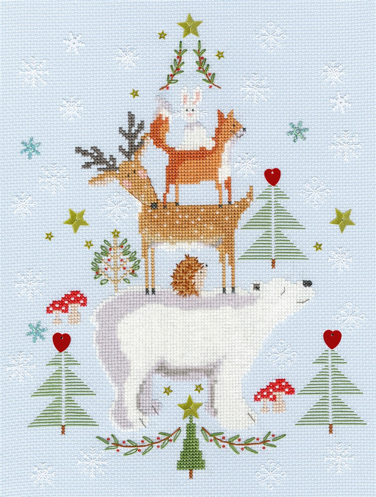 Bothy Threads Snowy Stack Christmas Cross Stitch Kit