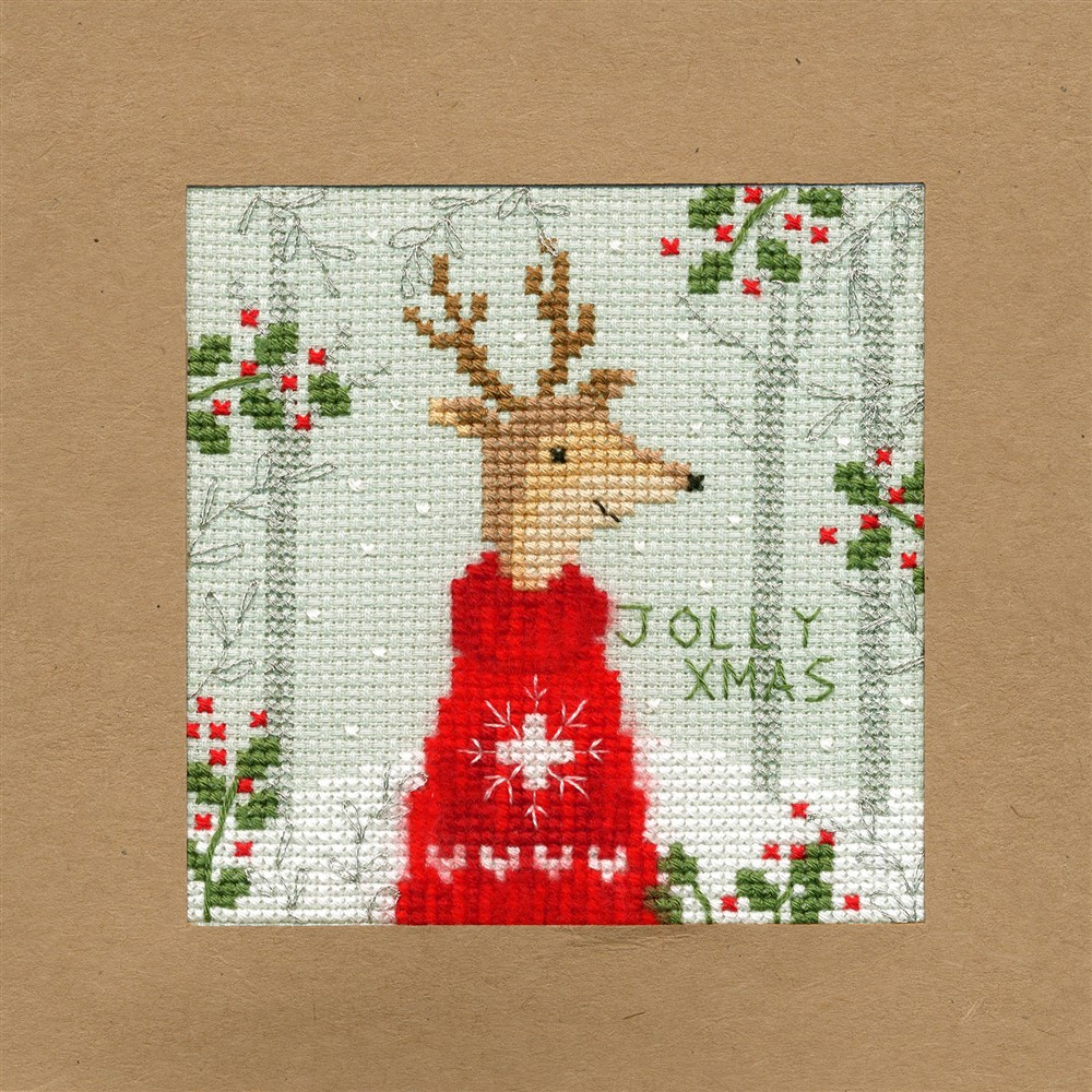Bothy Threads Xmas Deer Christmas Card Making Cross Stitch Kit