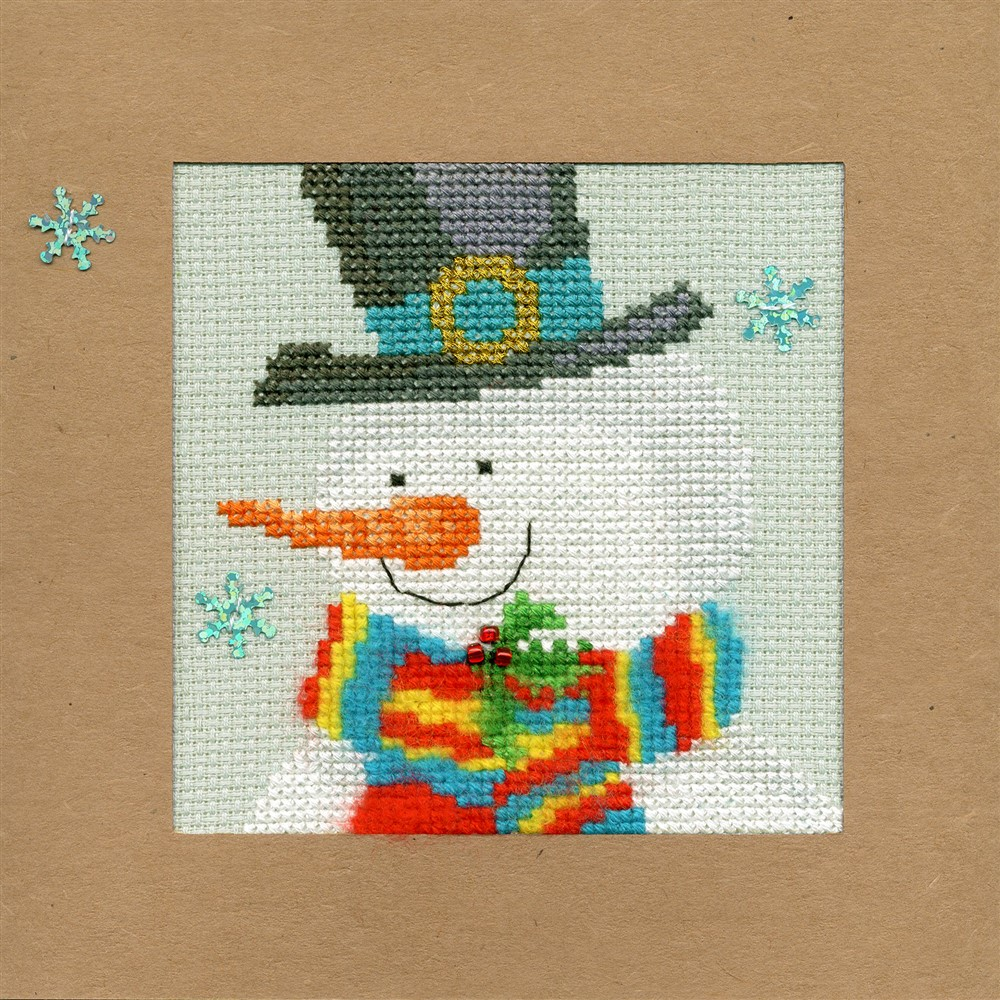 Bothy Threads Snowy Man Christmas Card Making Christmas Cross Stitch Kit