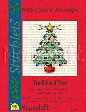 Mouseloft Traditional Tree Christmas Card Making Cross Stitch Kit
