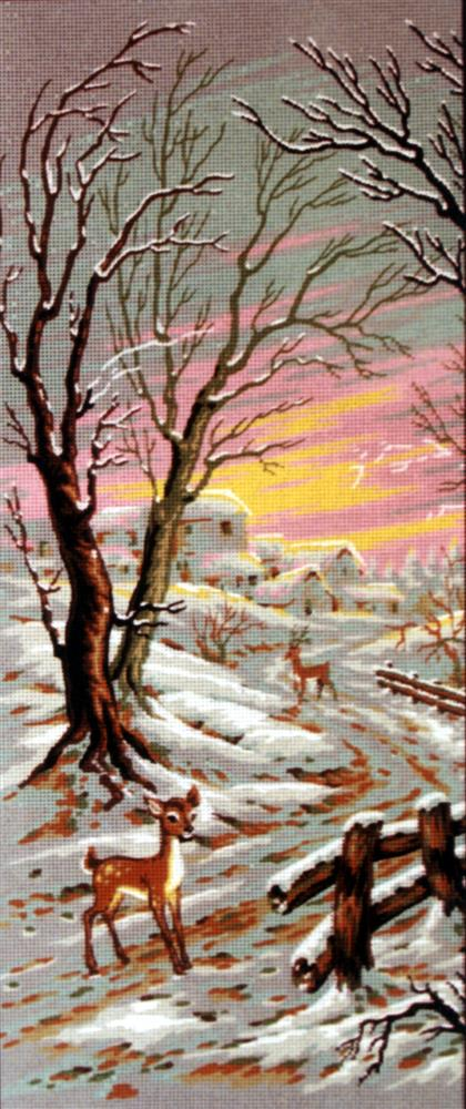 Diamant Fawn in the Snow Tapestry Canvas