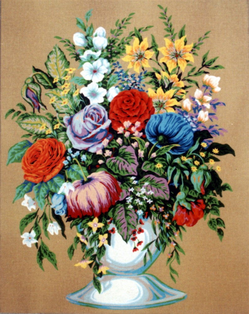 Diamant Bouquet in a White Vase Tapestry Canvas