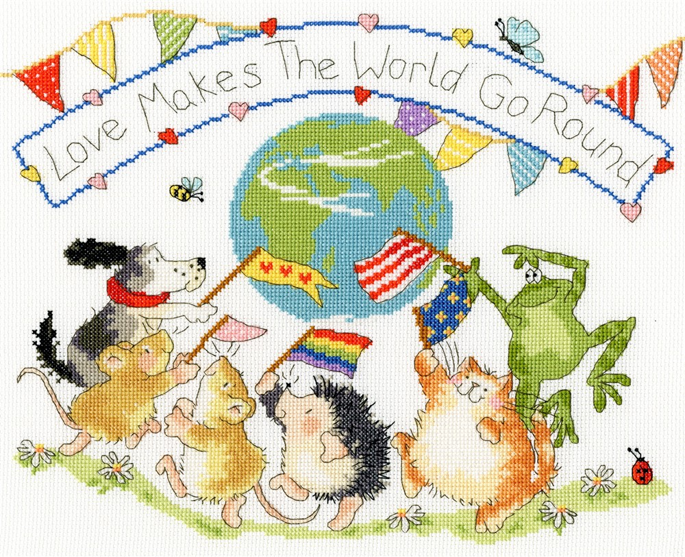 Bothy Threads Love Makes The World Go Round Cross Stitch Kit