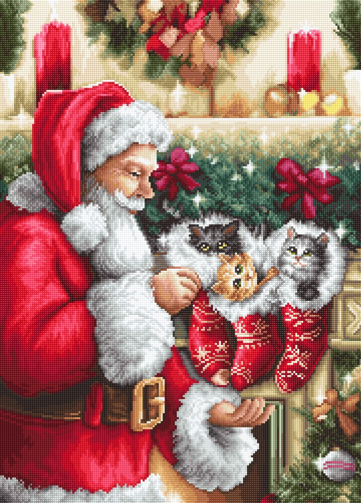 Luca-S Santa Claus and Kittens Petit Point Tapestry