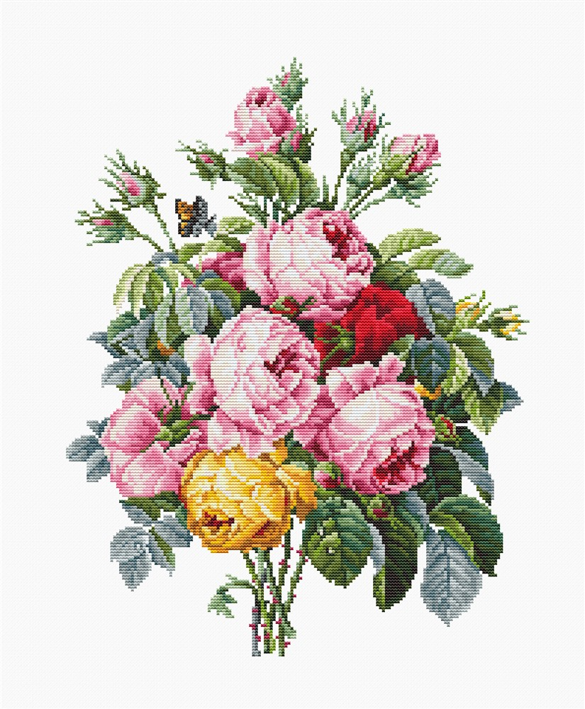 Luca-S Roses on Evenweave Cross Stitch Kit