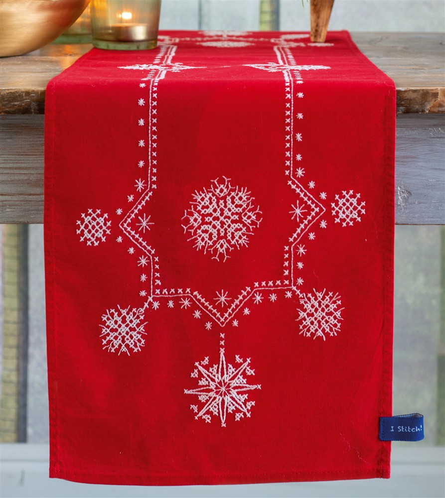 Vervaco White Christmas Stars Runner Embroidery Kit