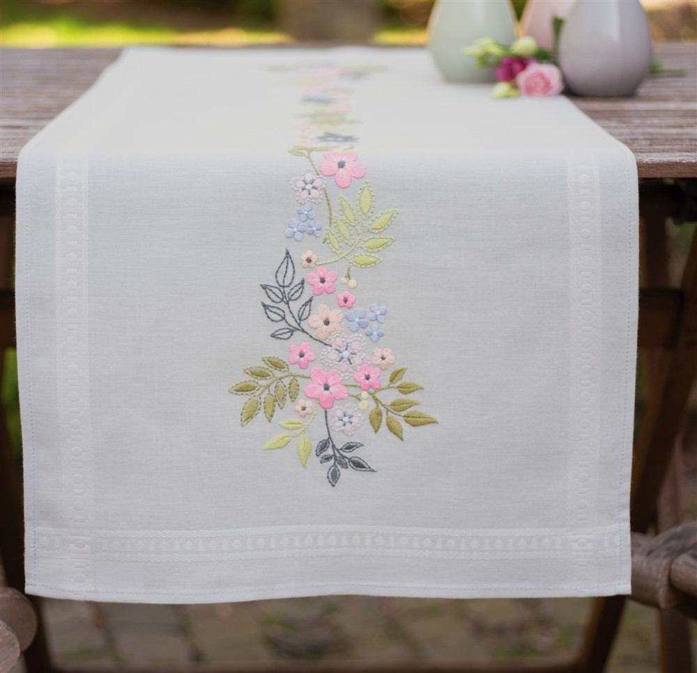 Vervaco Flowers and Leaves Runner Embroidery Kit