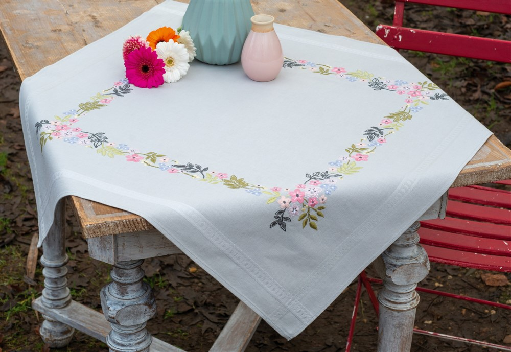 Vervaco Flowers and Leaves Tablecloth Embroidery Kit