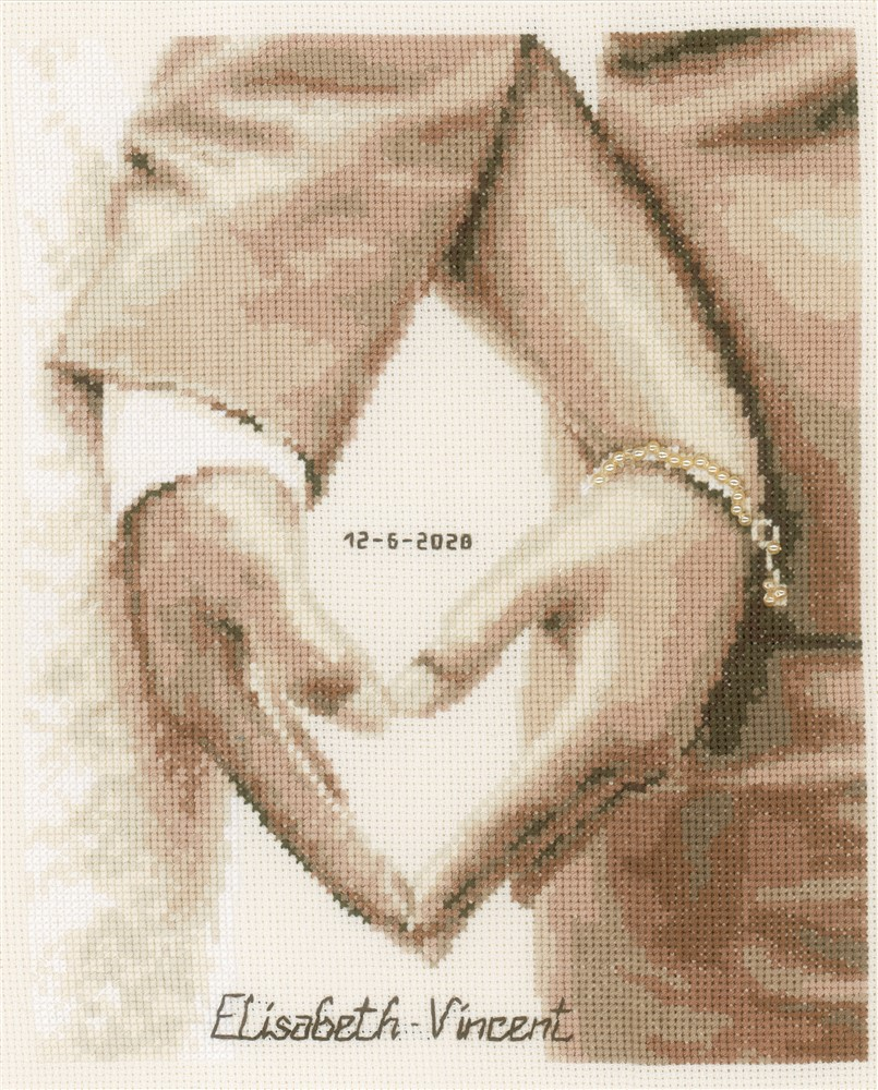 Vervaco Heart of the Newly Weds Wedding Sampler Cross Stitch Kit