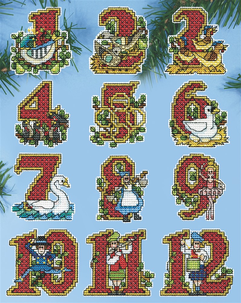 Design Works Crafts Twelve Days Ornaments Christmas Cross Stitch Kit