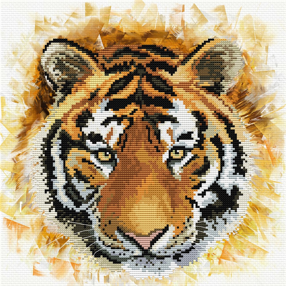 Needleart World Tiger Charge No Count Cross Stitch Kit
