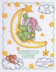 Janlynn Crescent Moon Birth Ann. Cross Stitch Kit