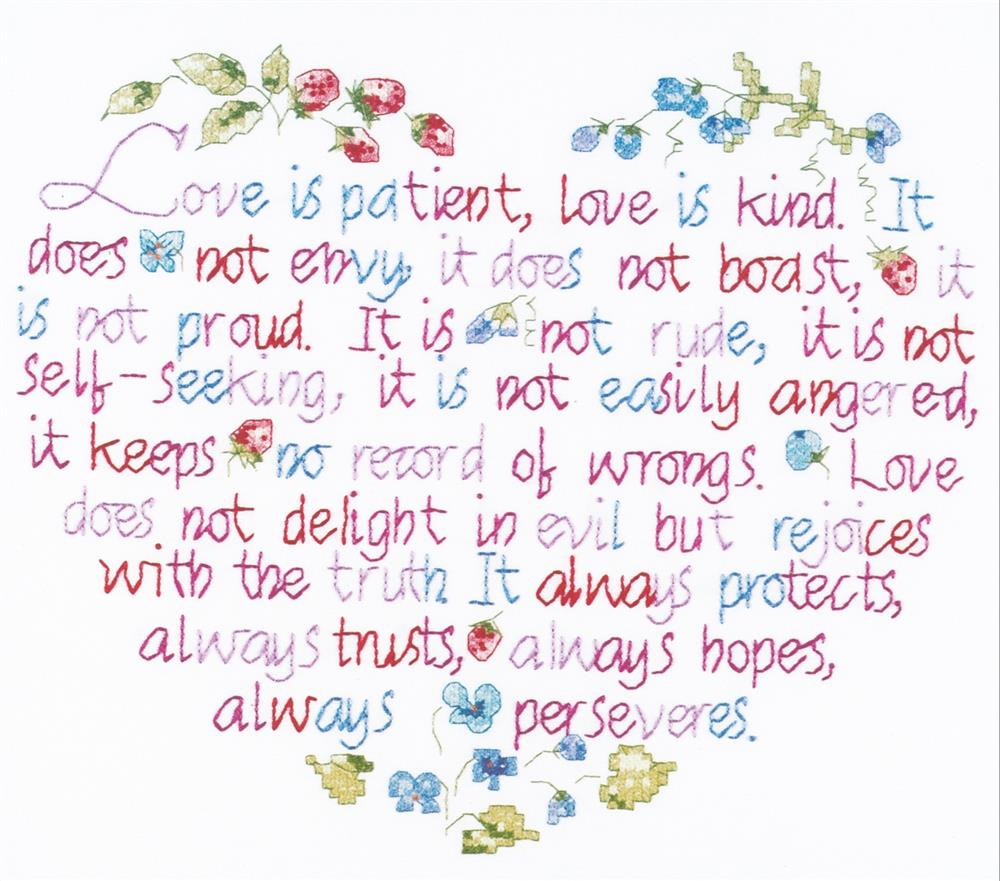 Janlynn Love is Patient Wedding Sampler Cross Stitch Kit