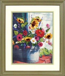 Dimensions Bucket of Flowers Embroidery Kit