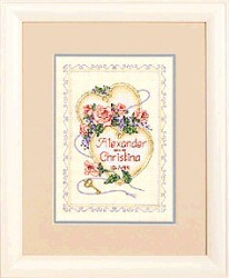 United Hearts Wedding Record -  Cross Stitch Kit