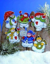 I Love Snow (6 Ornaments) -  Christmas Cross Stitch Kit