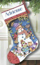 Cute Carolers Stocking -  Christmas Cross Stitch Kit