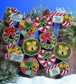 Candy Canes and Wreaths Ornaments -  Christmas Cross Stitch Kit