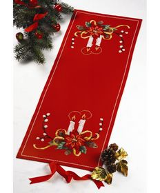 Candles Table Runner -  Christmas Cross Stitch Kit