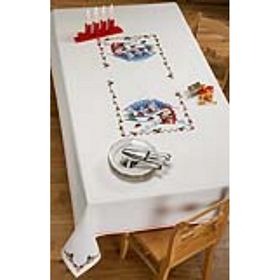 Santa Feeding Birds Tablecloth -  Christmas Cross Stitch Kit
